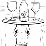 Uncolored sample page of Sammy balancing a tray with 2 wine glasses and a wine bottle on his head